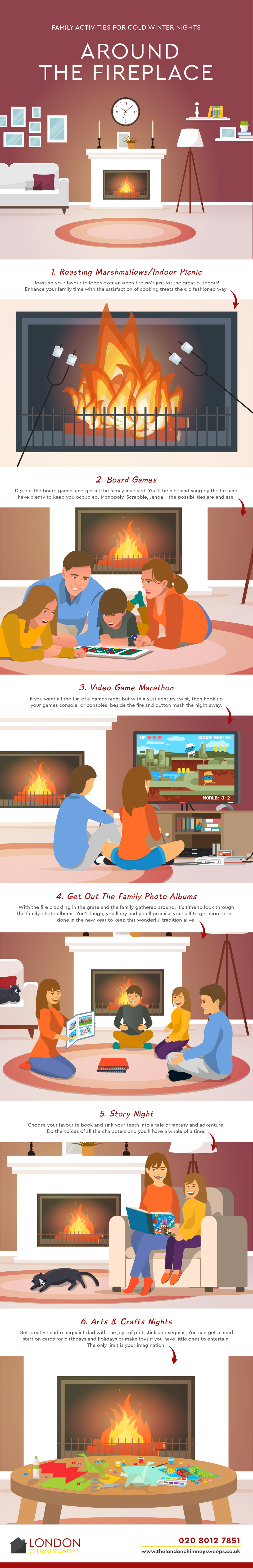 Infographic showing family activities for around the fireplace